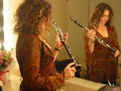 Anat in mirror with clarinet